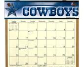 2016 CALENDAR - Dallas Cowboys Wooden  Calendar Holder filled with a 2016 calendar & a refill order form page for 2017.