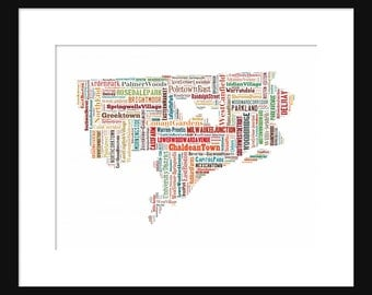 Detroit Map Typography Color Map Poster Print