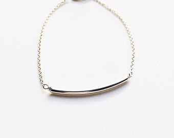 Sterling Silver Curved Bar Bracelet - Weddings /Bridal / Bridesmaid Thank You Gifts