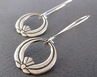 Silver Dangle Earrings, Japanese Lotus Earrings, Yoga Inspired Earrings Silver - TINY NAMASTE