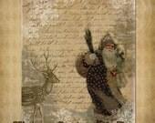 Vintage Christmas Large Santa and Deer Printable Collage Digital Download