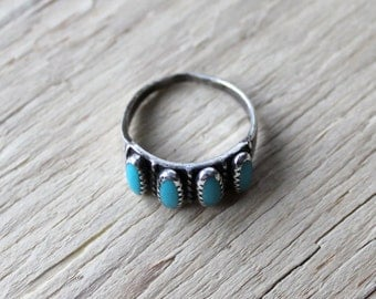 Vintage Sterling Silver and Turquoise Ring Size 6, Zuni Ring, Native American Ring, Vintage Sterling Ring