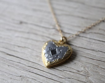 Vintage Gold and Silver Heart Repousse Locket, Gold Heart Locket, Vintage Locket