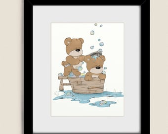 11 x 14 kids bathroom wall art childrens art print for cute bathroom decor