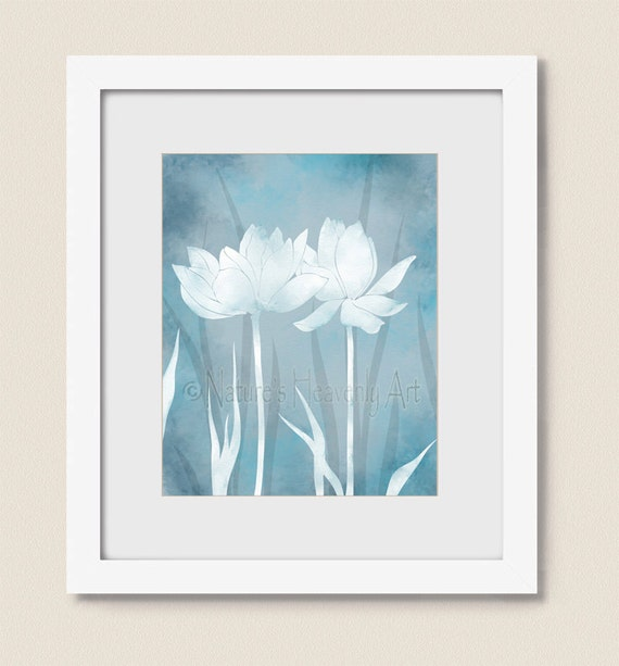 Yoga Wall Light : Yoga Room Wall Art 16x20 Print Light Blue Lotus Wall Art