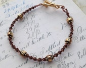 Brown and Gold Macrame Bracelet // Art Deco Beach Boho Chic