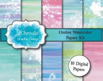 OMBRE watercolor digital scrapbook papers (set of 10)