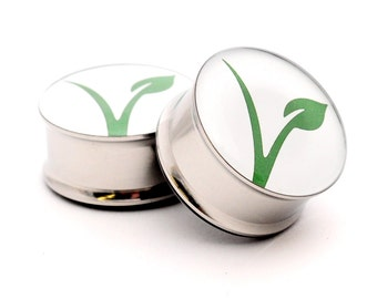 Vegan Logo Picture Plugs gauges - 16g, 14g, 12g, 10g, 8g, 6g, 4g, 2g, 0g, 00g, 1/2, 9/16, 5/8, 3/4, 7/8, 1 inch