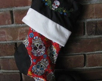 Dia De Los Muertos Day of the Dead Sugar Skull Gothic Elven Christmas or Halloween Stocking