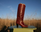 Vintage 70's Knee High Boots - Women Size 7 - Oxblood Leaather - Stacked Heel - Boho - Made in Italy