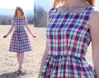 Women's Plaid Dress & Jacket Vintage 50s Mad Men Style Midi Small S 2 4 Retro Check Handmade