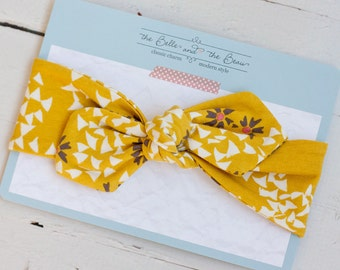 Mustard/Gray Floral Jersey Headband // Knot Headband // Jersey Knit //Head Wrap // Tie Headband- for girls of all ages