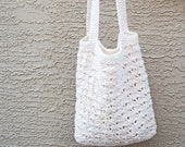 Crochet tote cotton off white natural beach farmers market boho bohemian
