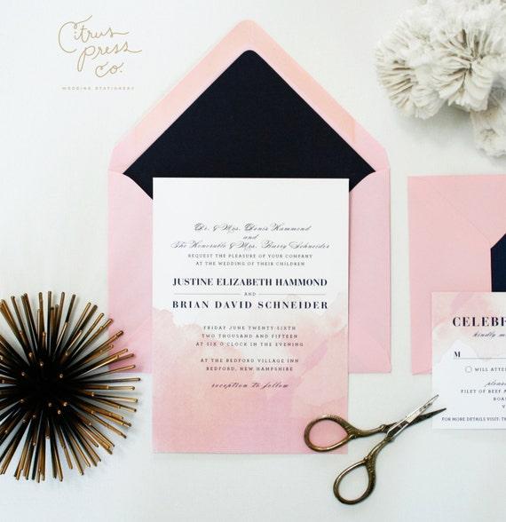 Watercolor Ombre Wedding Invitation - Pink and Navy, Watercolour Invitation,