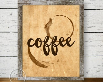 Coffee & Paper Illustration Art Print Poster - Instant Download 8x10