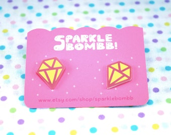 Cute Yellow Diamond Earring, Yellow Diamond Stud, Diamond gift, Diamond Accessories, Diamond Jewelry, Kawaii Diamond Earrings