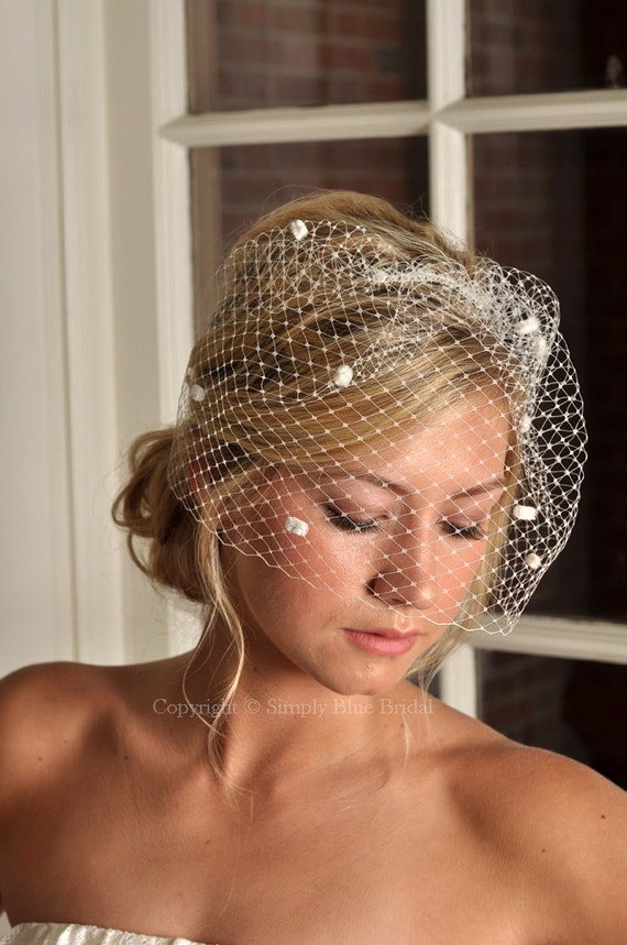 Wedding Birdcage Veil - Vintage Inspired Russian Dot Net Bridal Birdcage - Ivory, White