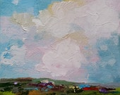 Farmland I - original abstract impressionism oil painting on 6x6 inch canvas by Judith Rhue