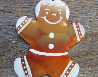 Ginger Boy, Dapper Boy, Ornament, Christmas, Decoration, Copper,  Rustic Decor, Hostess Gift, Man, Gift Tag, Cookie, Sculpture, Folk Art