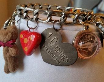 Ten Things I Love About You Charm Bracelet ,  Valentine's Day Bangle, Valentine's Day Charm Bracelet , Teddy Bear Bracelet