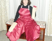 Custom Order Pottery Apron in Cranberry Red with Ultimate Coverage Split Leg Panel and Tan Towels by ClayDogStudio