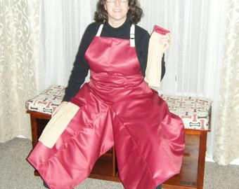 Pottery Apron in Cranberry Red with Ultimate Coverage Split Leg Panel and Tan Towels by ClayDogStudio