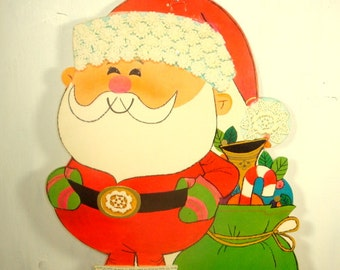 Vintage Santa Claus With Bag Die Cut, Christmas Decoration, Retro Holiday Decor, Hallmark  (287-15)