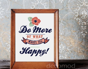 8X10  MORE of what makes your HAPPY Mint and Coral Poppy Art Instant Digital Download Printable