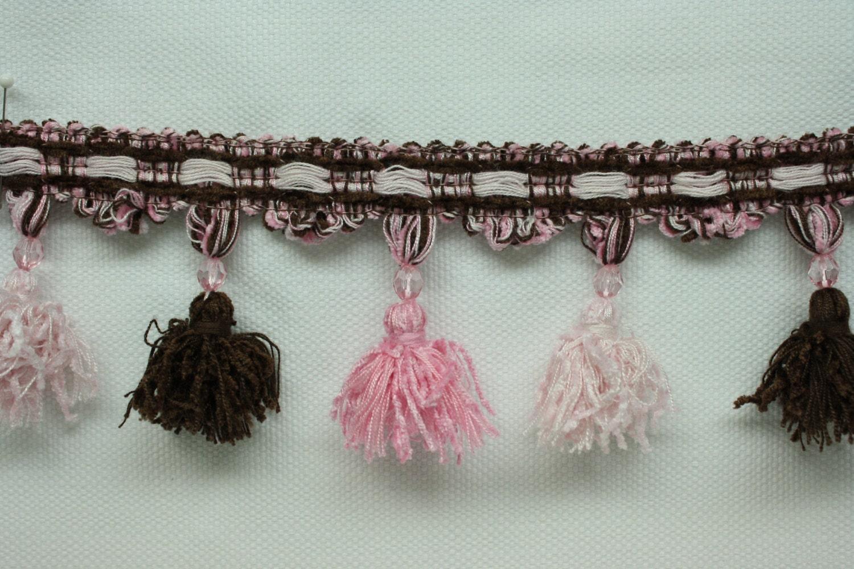 Home Decor Beaded Tassel Fringe Trim Pink & Chocolate Brown