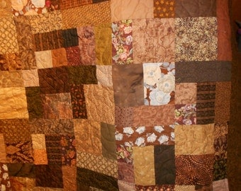 Queen size Bed Quilt Scrappy brown 7