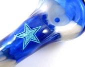 Hand Blown Glass Tobacco Sports Team Dichro Pipe Dallas Cowboys Pipe