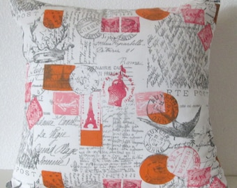 Pillow Cover - French script - french country decor - Amore Twill Sherbet print - Cushion Cover - accent pillow case
