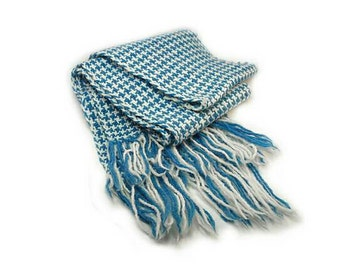 Blue & White Houndstooth Scarf