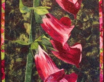 Foxgloves Art Quilt Pattern by Lenore Crawford