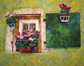 Window with Shutter Art Quilt by Lenore Crawford