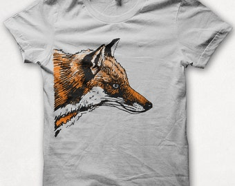 Mens Tshirt, Graphic Tee, Red Fox, Fox Shirt, Forest and Fin, Screenprint T - Silver