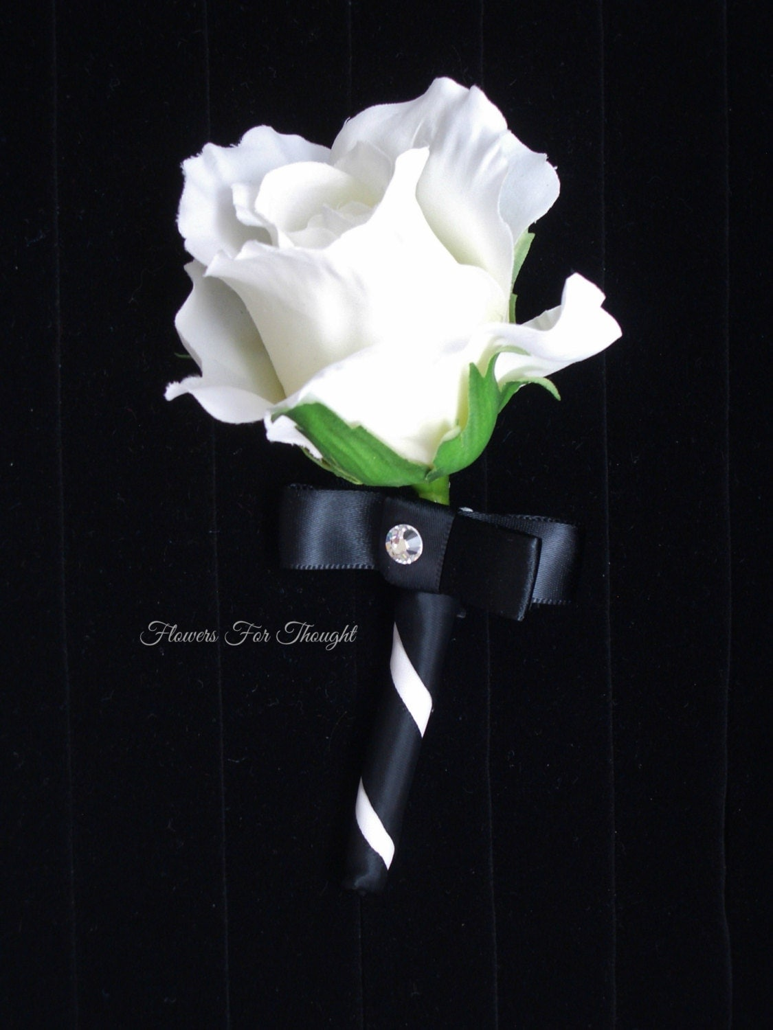 White rose boutonniere fft design black ribbon silk wedding for Bouquet roses blanches