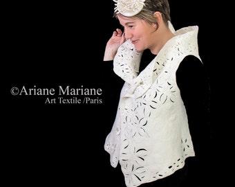 White wedding nuno felt art vest, floral wool fiber wearable art, unique romantic woman garment, ooak handmade design from Paris