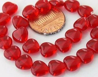 Red Heart Czech Glass Beads 8mm: 20