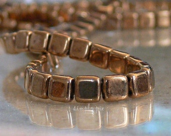Bronze, CzechMates Two-Hole Tile Beads 6mm 25 Czech Glass Beads Square Beads