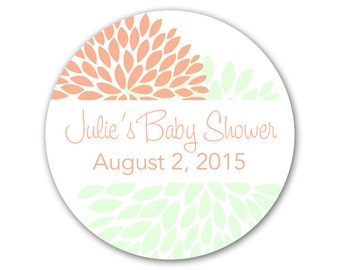 Personalized Baby Shower Favor Stickers - Custom Modern Labels - Flowers Mums Stickers - Custom Labels - Choose Your Colors