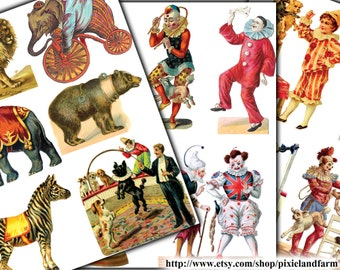 Vintage Circus Clip Art Printable Digital Download