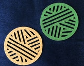 Felt coaster for knitter, crocheter, spinner, weaver - ball of wool / yarn - green / mustard mat