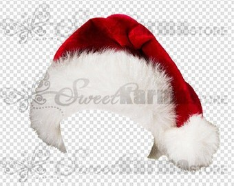 Santa Christmas Holiday Hat Digital Photography Prop on Transparency File #501 Instant Download