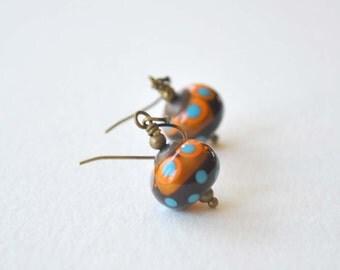 Brown Orange Earrings, Dangle Earrings, Lampwork Glass Bead Earrings, Polka Dot Earrings