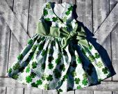Girls St. Patricks Day Dress- Baby Girl Dress- Shamrocks- 4 Leaf Clover- Wrap Dress- Sizes 12 months 2 3 4 5 6 7 8 Years