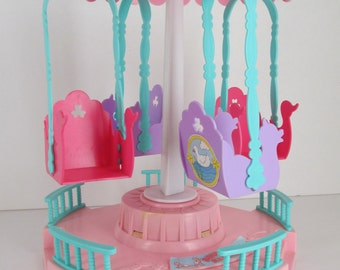 Vintage 1989 Bouncin Babies Music 'n Motion Carousel Baby Doll Toy