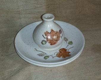 Vintage Metlox Poppytrail Woodland Gold Pepper Shaker & 2 Saucers / 1960s Poppytrail Metlox Autumn Leaves / Vintage Vernon Tableware