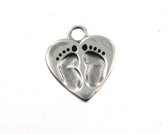 NEW LOWER PRICE Sterling Silver Baby Feet Imprint as low as 4.25 each!
