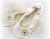 Ivory Ballet Flats, Elegant Wedding, Flower Girl, Bridal, Shoes, Flats, First Communion, Ballerina Slippers, Satin, Tulle, Crystals, Elegant